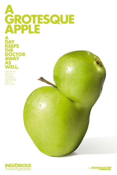 Intermarche introduced a new sub-brand inglorious fruit & vegetables: Grotesque Apple.