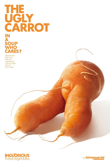 Intermarche introduced a new sub-brand inglorious fruit & vegetables: Ugly Carrot.