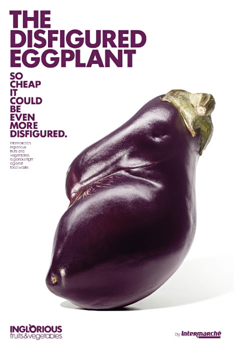 Intermarche introduced a new sub-brand inglorious fruit & vegetables: Disfigured Eggplant.